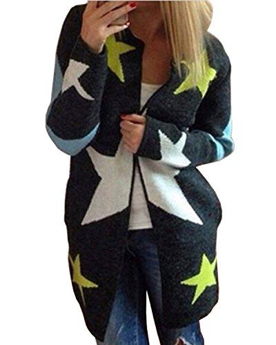 ZANZEA Donna Knit Cardigan Maniche Lunghe Jumper Outwear Maglia Jacket Sweatshirt Tops Stella IT 34-44/US S-L