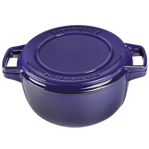 KitchenAid KCPI60CRFU Professional Cast Iron 6-Quart Casserole Cookware - Fiesta Blue