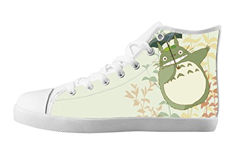 Cute Cartoon's Design(Totoro) for Women's Shoes White High Top Canvas Shoes Rubber Sole-7M(US)