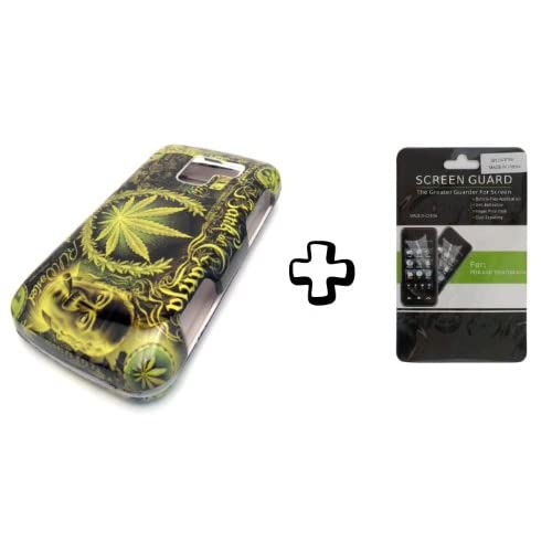 BUNDLE LG Optimus Q L55c Green Leaf Ganja + CLEAR LCD SCREEN PROTECTOR