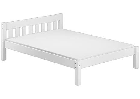 Solo-legno 60° 38-14 W M letto matrimoniale con roll Ruggine e materasso, legno, bianco, 209 x 150 x 70 cm