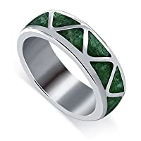.925 Sterling Silver Malachite Inlay 6mm wide Band Ring