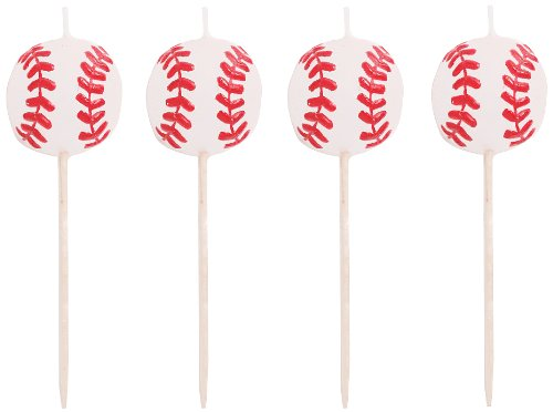 Creative Converting 4 Count Sports Fanatic Baseball Shaped Pick Candles - 1