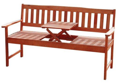 KMH®, Gartenbank aus massivem Eukalyptusholz (mit integriertem, einklappbarem Tisch) (#101909) online kaufen
