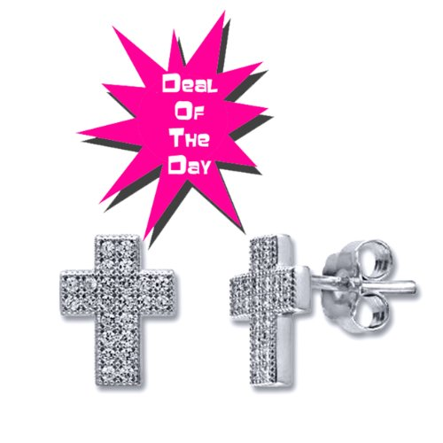 Micro Pave Cubic Zirconia CZ .925 Sterling Silver Cross Stud Earrings