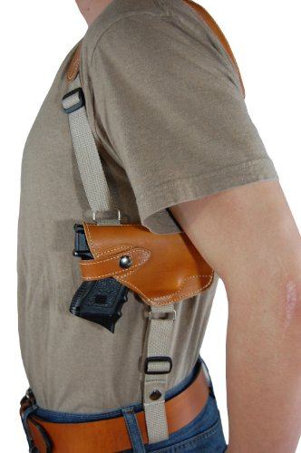 Barsony Saddle Tan Leather Horizontal Shoulder Holster for Beretta Nano w/ LASER from Barsony Holsters and Belts
