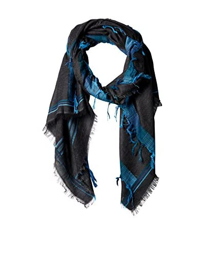 Saachi Women's Rugged Cotton Scarf, Grey/Blue
