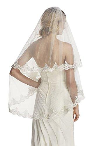 Passat Ivory 2 Tiers 2T 90CM Short Lace Wedding Bridal Veil 214 Size 2T(1st tier 60CM/24