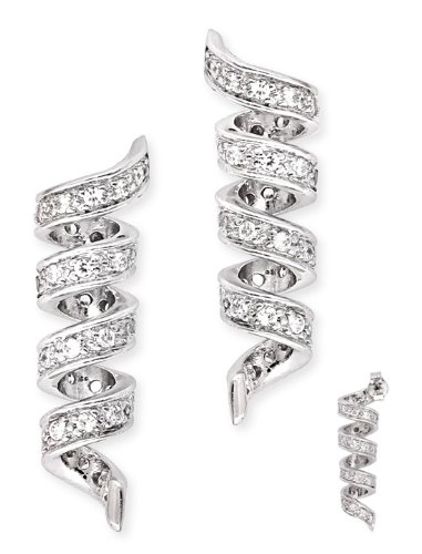 Pave-Set C.Z. Diamond Swirl (.925) S/S Earrings (Nice Holiday Gift, Special Black Firday Sale)