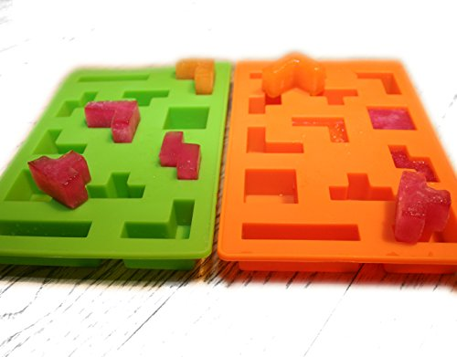 Set of 2 Tetris Ice Cube Block Mold & Tray for Making Ice, Candle, Jelly, Candy, Brownie, Chocolate and SugarPaste