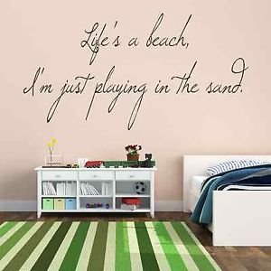 Iconic stickers life 39 s a beach quote seaside sunshine for Beach wall mural decals