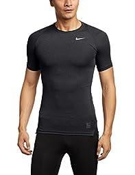 Nike Mens Pro Cool Compression Short Sleeve Top Black/Dark Grey/White 703094-011 Size Medium
