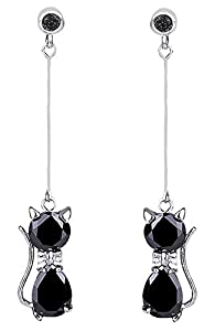 DaisyJewel Classy Cat Black Crystal Dangle Drop Earrings