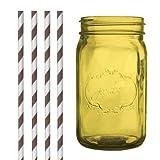 Dress My Cupcake DMC35215 Amber Yellow Vintage Jardin Mason Jar with Chocolate Brown Striped Straws, 32-Ounce