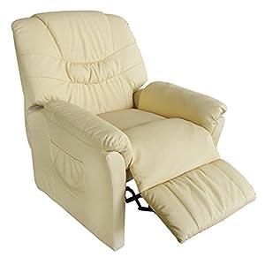 poltrona massaggiante relax vibrante crema ecopelle