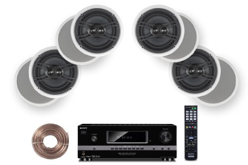 "Sony Hd Digital Cinematic Sound 700 Watts 7.1 Channel 3D A/V Receiver + Yamaha Custom Easy-To-Install Natural Sound In-Ceiling 3-Way 100 Watts Speaker (Set Of 4) With Dual Tweeters & 6-1/2"" Woofer + 100Ft 16 Awg Speaker Wire"