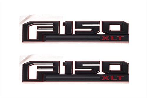 2015-2016 Ford F-150 XLT Red & Black Fender Emblem Nameplates Right Left Set OEM (Ford F150 Side Emblems compare prices)