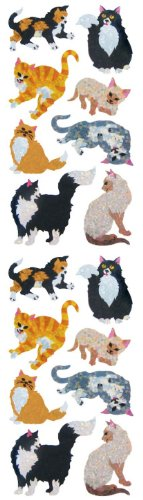 Jillson Roberts Prismatic Stickers, Cats & Kittens, 12-Sheet Count (S7307)