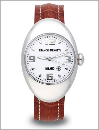 Franchi Menotti Men's Brown Leather Strap Stainless Steel Case watch white Dial