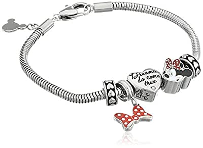"Disney ""Minnie Mouse"" Stainless Steel Bead Bundle Charm Bracelet"
