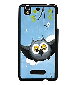 Grey Owl Cartoon 2D Hard Polycarbonate Designer Back Case Cover for YU Yureka :: YU Yureka AO5510