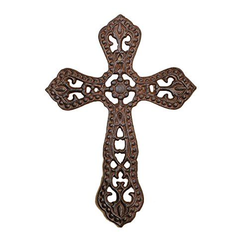 Gift Craft Antique Brown Western Cast Iron Wall Cross