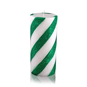 """3 x 6"""" Scented Green Candy Cane Pillar Candle"""