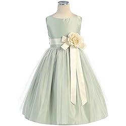 GEORGE BRIDE Abito da sera del vestito da damigella d'onore ragazza abiti Flower Girl Dress bambini GE0104 ,3years,Green