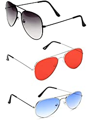 Unisex Combo Pack Of 3 Aviator Sunglasses For Men And Women (Blk Shd Blk -Slvr Blue - Slvr Red ) (Co3-0036)