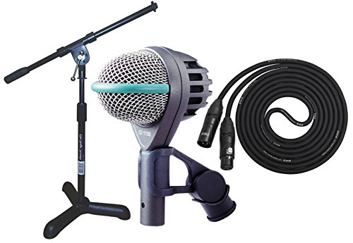 Akg D112 Professional Dynamic Bass Mic With On Stage Kick Drum/Amp Mic Stand, Lyxpro 20' Black Premium Cable Xlr M/F