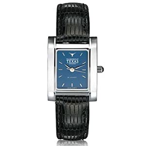 University of Texas Ladies Swiss Watch - Blue Quad Watch with Leather Strap by M.LaHart & Co.