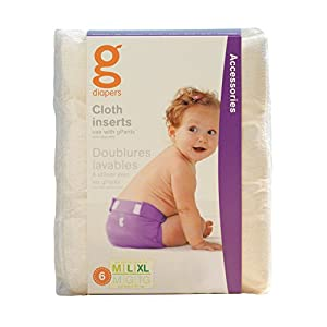 gNappies Washable Cloth Nappy Inserts - Medium/Large/XL (pack of 6)