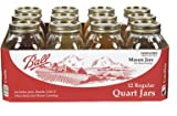 Ball Jar Mouth Quart Jars with Lids and Bands, Regular, Set of 12