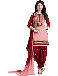 Justkartit Women's Pink & Maroon Colour Unstitched Party Wear Patiala Salwar Suit / Wedding Wear Cotton Patiala...