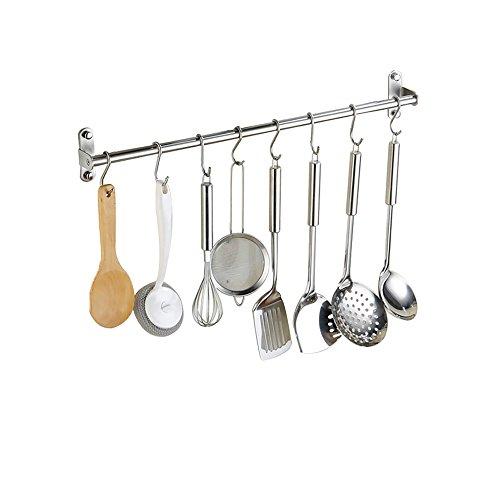 Multifunzione Rastrelliera di Asciugamano Appesa Aste Rack per Accessori da Cucina in Acciaio Inossidabile 100 cm con 15 Ganci