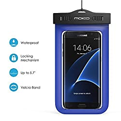 Universal Waterproof Case, MoKo Waterproof Case With Armband & Neck Strap for iPhone SE / 6s Plus / 6 Plus / 6s / 6 / 5s, Galaxy S7 / S7 Edge, Also fits devices up to 5.7 inch - IPX8 Certified, BLUE