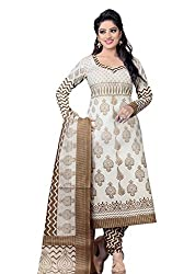RR Fashion Women's Cotton Unstitched Dress Material (710_white)