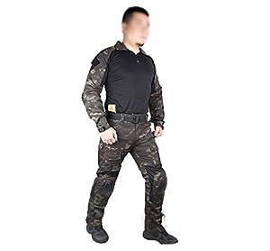 Hommes Armée Militaire Airsoft Paintball Jeu de Guerre Tournage Gen2 G2 Tactique EDR Combat Uniforme Chemise & Pantalons Costume avec de Protection Coudières et Genouillères Multicam Noir