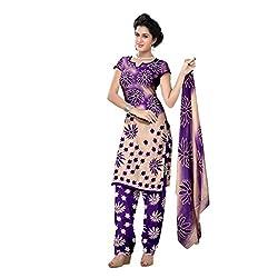 Muac New Purple Pure JodhPuri Printed Cotton Semi Stitched Suit ( Dress ) + Navratri Gift