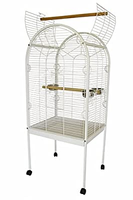 Lazy Bones Open Top White Parrot Cage