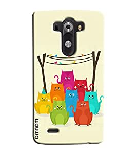 Omnam Coloful Cats Effect Printed Designer Back Cover Case For LG G3