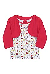 Chirpie Pie by Pantaloons Girl's Round Neck T-Shirt (205000005610520, White, 6 - 9 Months)