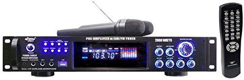 Pyle PWMA2003T 2000W Hybrid Pre Amplifier with AM/FM Tuner/USB/Dual Wireless Mic (Color: w/am-fm, Tamaño: pre-amplifier)