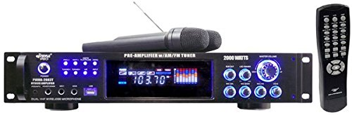 Pyle PWMA2003T 2000W Hybrid Pre Amplifier with AM/FM Tuner/USB/Dual Wireless Mic (Dj Rack Mount Brackets compare prices)