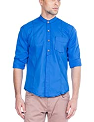 Zovi Men's Cotton Regular Fit Casual Cotton Royal Blue Solid Shirt - Full Sleeves (10584107702)