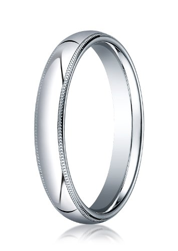14K White Gold, 4mm Slightly Domed Comfort-Fit Ring with Milgrain (sz 12.5)