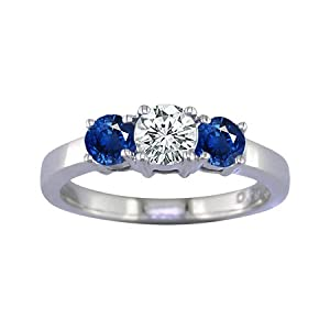 2 CT 3 Stone Blue Sapphire & Diamond Ring 14K White Gold In Size 7 (Available In Sizes 5 - 10)