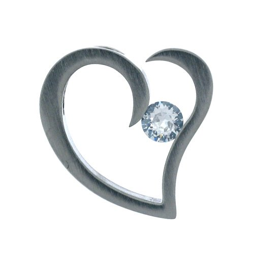 Inox Jewelry 316 Stainless Steel Heart Flourish cz Solitaire Pendant