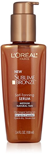 L'Oreal Paris discount duty free L'Oreal Paris Skin Care Sublime Bronze Self-Tanning Serum, Medium Natural Tan, 3.4 Fluid Ounce
