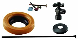 Westbrass WBD1614TBX-12 1/2-Inch Nominal Compression Cross Handle Angle Stop Toilet Installation Kit in Oil Rubbed Bronze